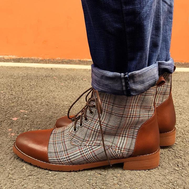 British Plaid Casual Martin Boots SKU