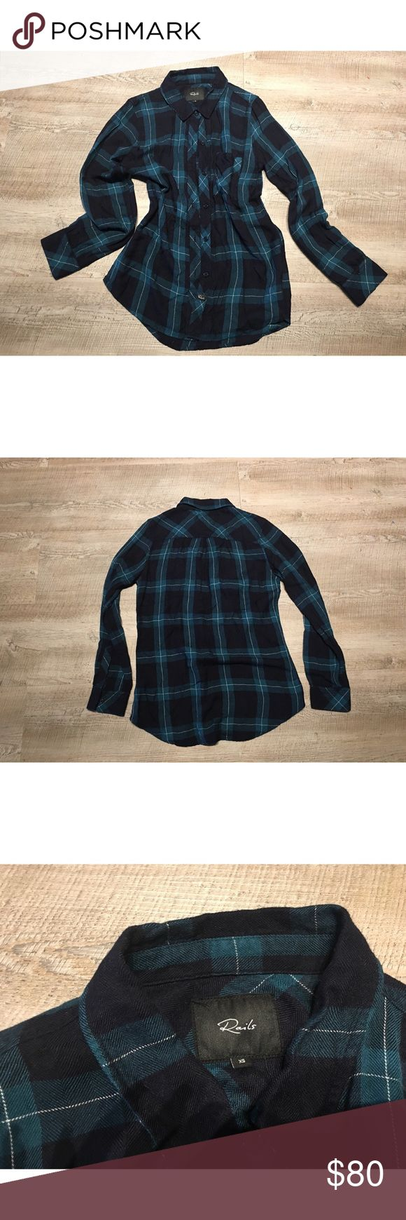 Rails hunter Plaid Lumber Flannel Buttondown shirt ✨(❁´◡`❁) ωḙℓḉ✺Պḙ (❁´◡`❁)✨      🦋Description:     •Beautiful deep Teal Blue & Black Plaid fabric    •Long sleeve    •Collared    •Button down       ✨        🦋Brand: Rails         🦋Size: XS        🦋Condition: Excellent preowned shape. No holes or stains.         (please refer to all photos Don't hesitate to ask ANY and ALL question before Bidding/Buying)        Ask about combined shipping and discounts! Rails Tops Button Down Shirts