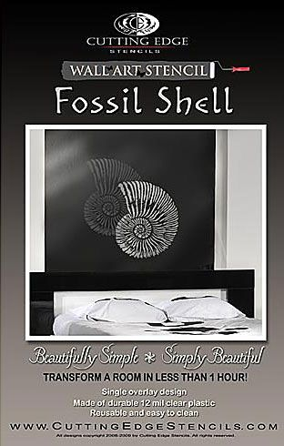 Cutting Edge Stencils - Fossil Shell Wall Art Stencil