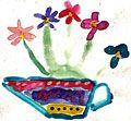 Детский рисунок натюрморт ваза цветы