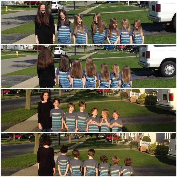 Mãe e seus 6 filhos cortam e doam mais de 5 metros de cabelos