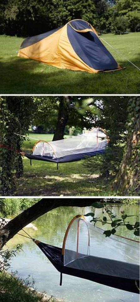 The Nyamuk is a compact sleeping bag that goes from full tent to hammock complete with mosquito net.