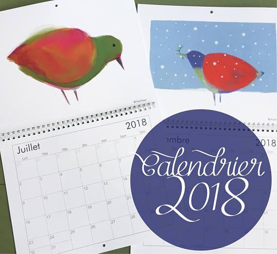 Calendrier des oiseaux 2018  12 superbes illustrations de