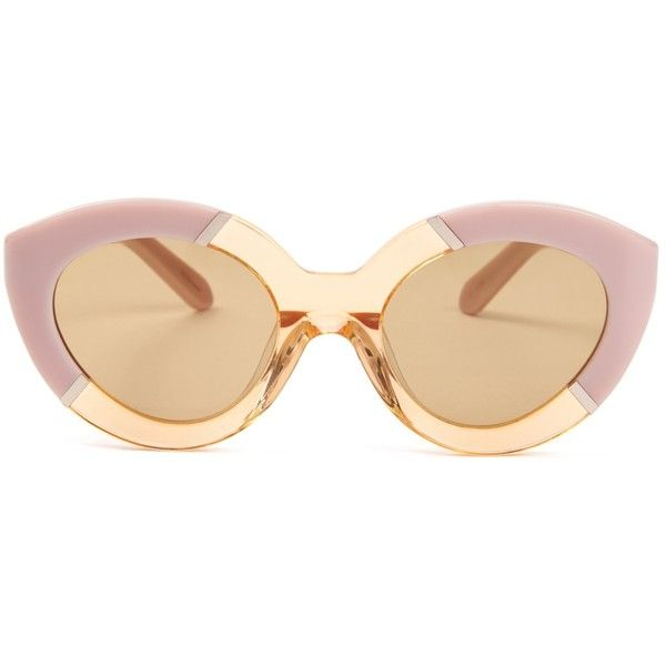 Karen Walker Eyewear Poolside Flowerpatch sunglasses (€225) ❤ liked on Polyvore featuring accessories, eyewear, sunglasses, pink multi, cat eye sunglasses, clear eyewear, karen walker sunglasses, pink glasses und karen walker sunnies
