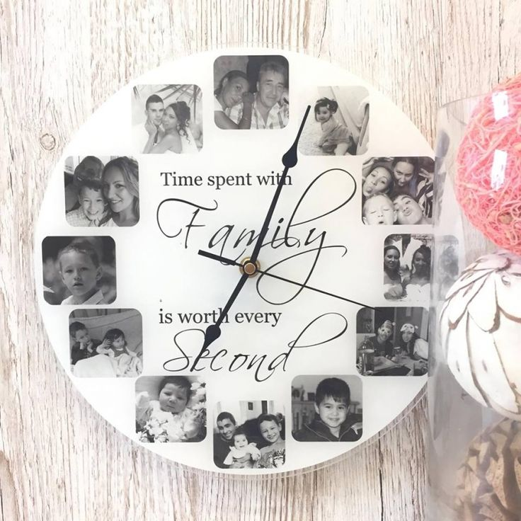Family Clock.  Our personalised clocks have the 'WOW' factor and are even more stunning in real life! Clocks are Approx 30cm x 30cm diameter, with a working clock mechanism and antique style hands, printed onto a 3mm acrylic, using top of the range photo printers to ensure maximum photo quality. (Clocks take one AA battery, battery not included)  ADDITIONAL INFO   Postage & Packaging - postage costs are £2.50 for the 1st item and £1 per additional items