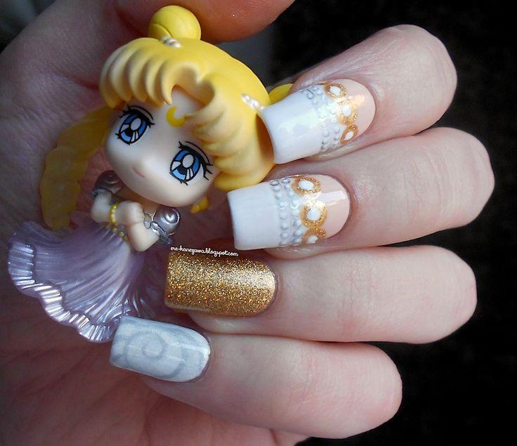 Sailor Moon - Princess Serenity inspired nail art! featuring the cute petit chara :)