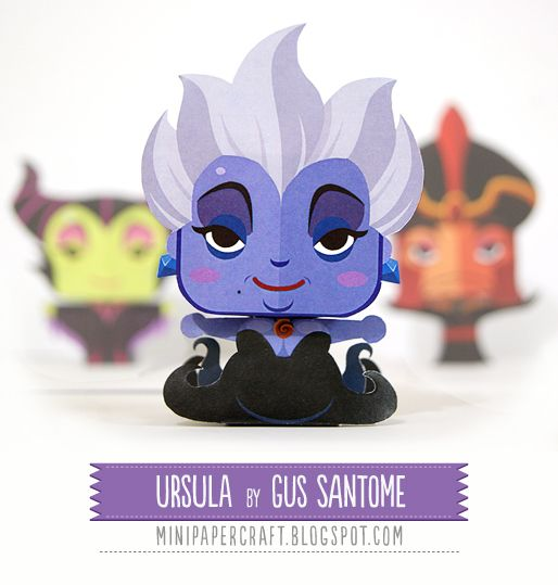 Mini Papercraft: Ursula - Disney villains - Free 3D Paper Crafts