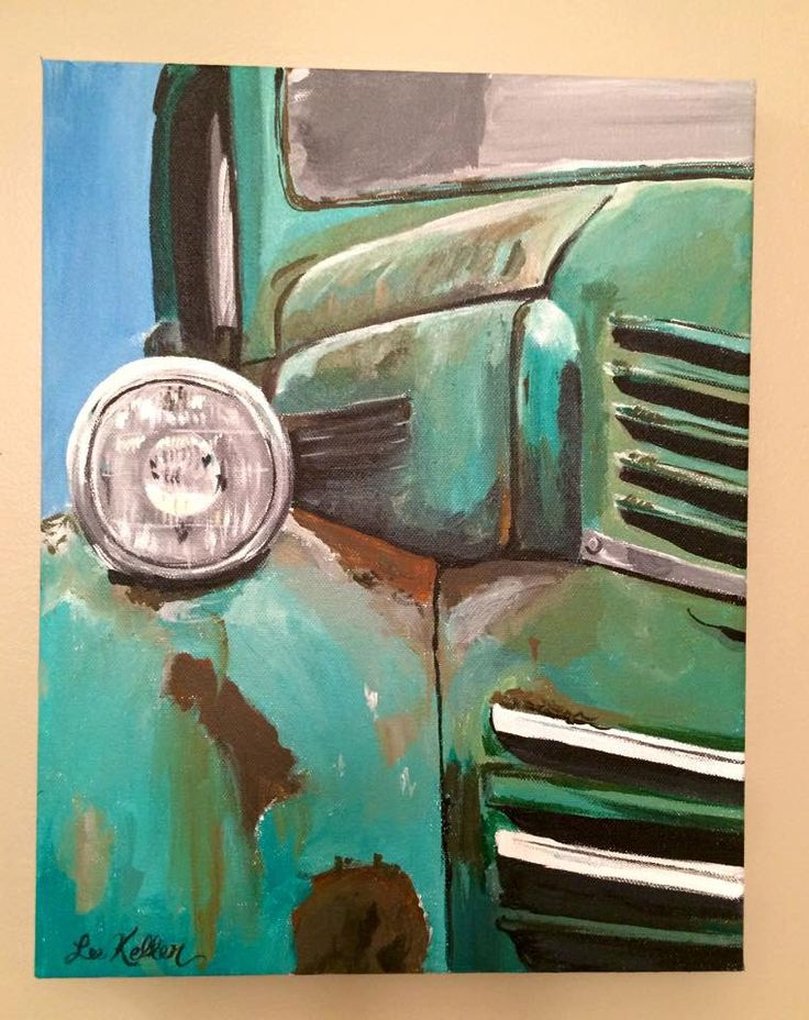 A personal favorite from my Etsy shop https://www.etsy.com/listing/227236009/farm-truck-painting-rusty-old-farm-truck