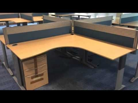 Paragon Office Furniture   Desks In Maple With Matching Storage Units