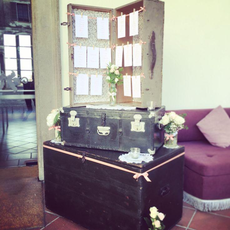 Chiara mi ha chiesto questo tipo di tableau de mariage..valigie,vintage,stoffa e nastri rosa.. #tableaudemariage #weddingplanner #valigia #villaaffaitati #grumellocremonese