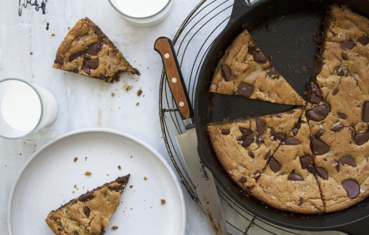 Giant Chocolate Chip Skillet Cookie: The batter for this large-format dreamboat of a cookie (crunchy on the edges, chewy in the middle) is made in one bowl with no special equipment, and can be baked in either a cast-iron or large skillet.