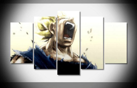 Style Your Home Today With This Amazing 5 Piece Multi Panel Modern Home Decor Framed Dragon Ball Z Anime Super Saiyan Vegeta Wall Canvas Art For $99.98  Discover more canvas selection here http://www.octotreasures.com  If you want to create a customized canvas by printing your own pictures or photos, please contact us.