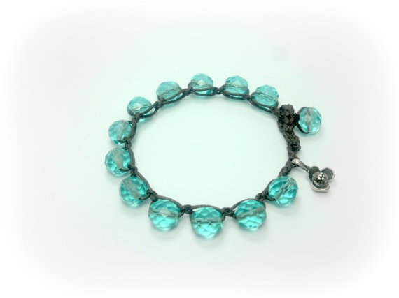 Czech glass turquoise bracelet turquoise by theflowerdesign, $24.00