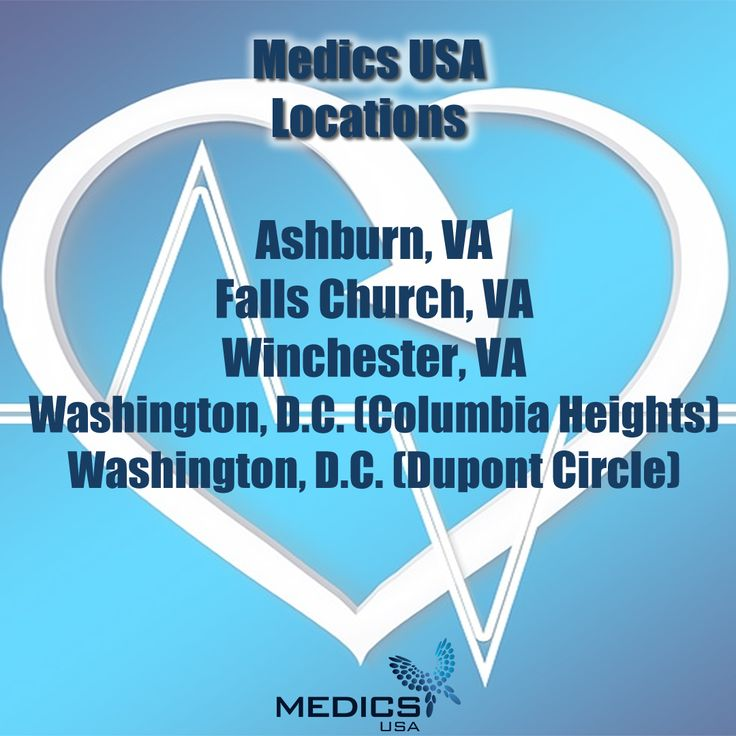 We have locations throughout the D.C. Metro area and Northern Virginia. Click to find the Medics USA that's closest to you!