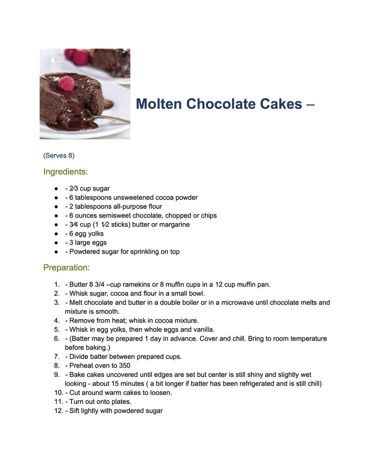 Molten Chocolate Cakes Cake servings, Unsweetened cocoa