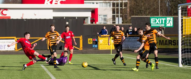Queen's Park's David Galt scores during the Ladbrokes League One game between Alloa Athletic and Queen's Park.