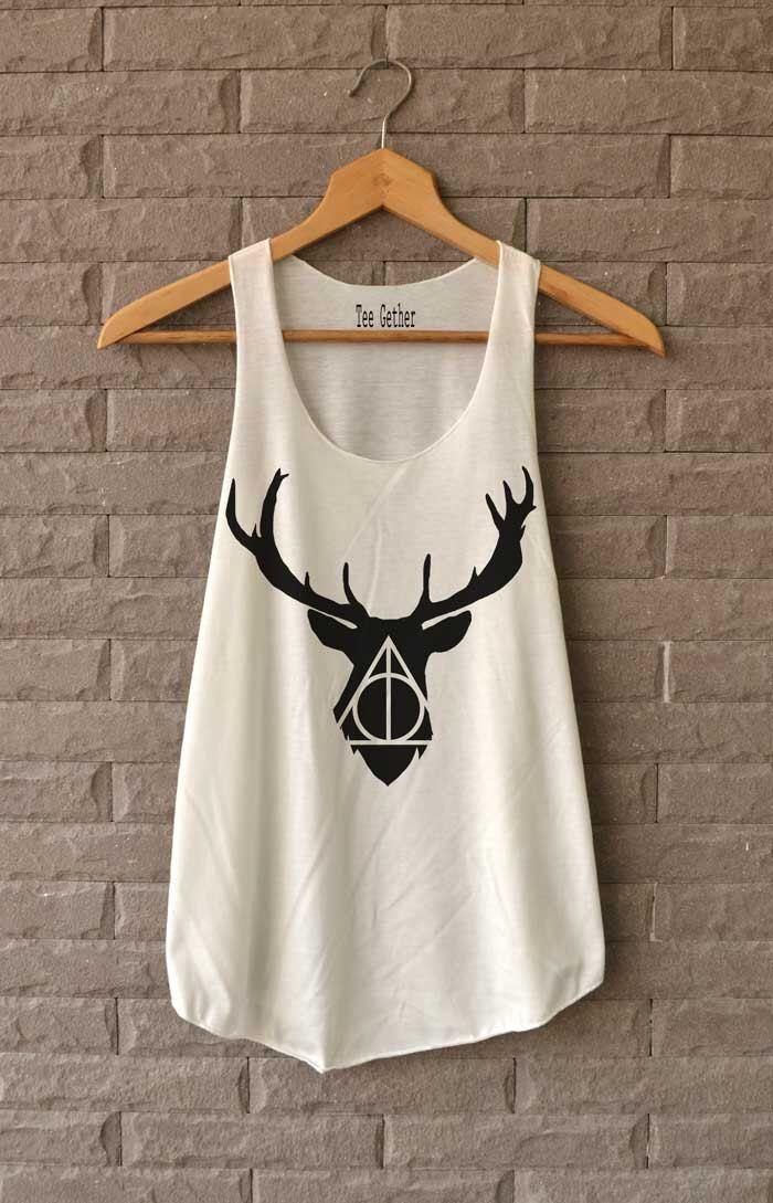 Cerf Deathly Hallows Shirt Harry Potter chemises Débardeur femme taille S M L par Teegethershop sur Etsy https://www.etsy.com/fr/listing/227169062/cerf-deathly-hallows-shirt-harry-potter