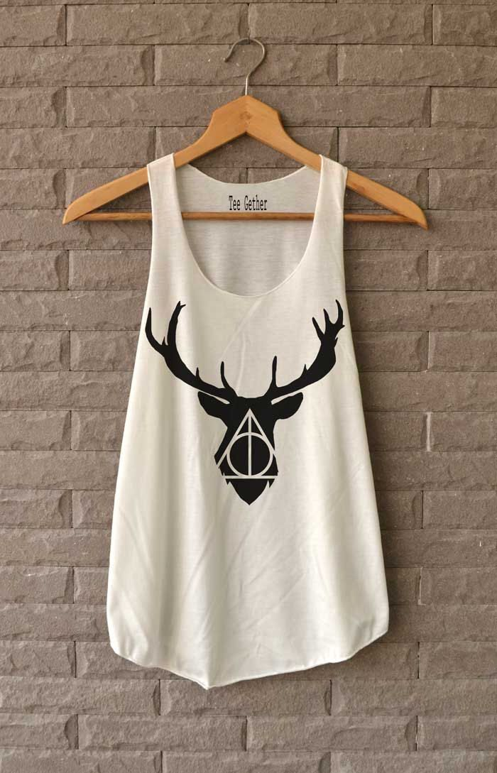 Cerf Deathly Hallows Shirt Harry Potter chemises Débardeur femme taille S M L par Teegethershop sur Etsy https://www.etsy.com/fr/listing/227169062/cerf-deathly-hallows-shirt-harry-potter