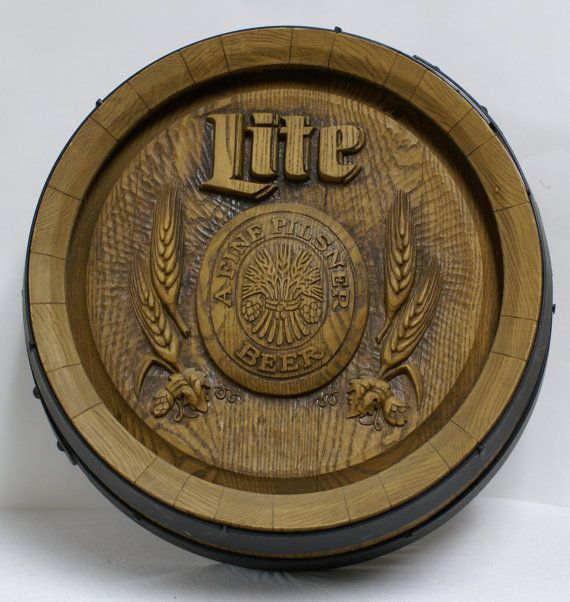 Vintage Miller Lite Beer Barrel Keg Top Sign Plastic Wood