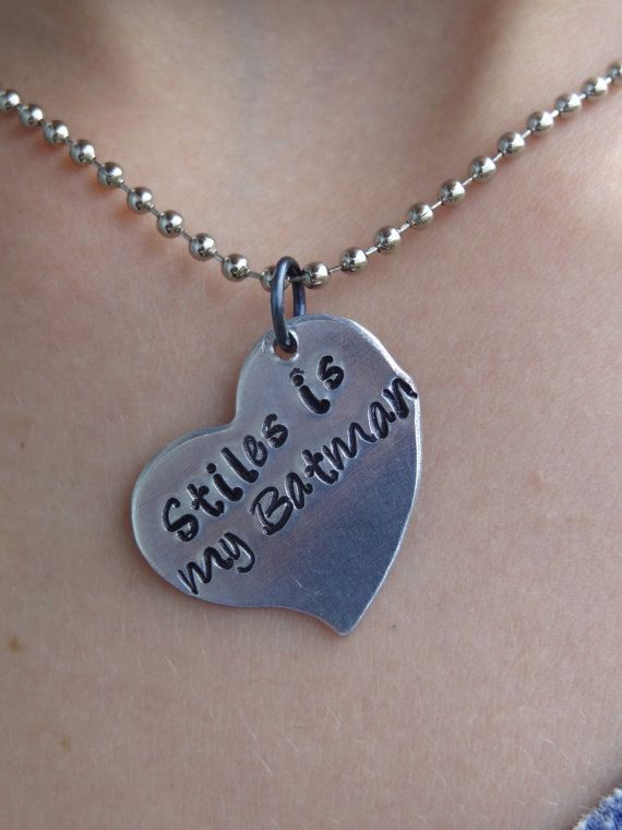Stiles is my batman hand stamped heart necklace inspired by Stiles Stilinski of Teen Wolf on Etsy, $10.50