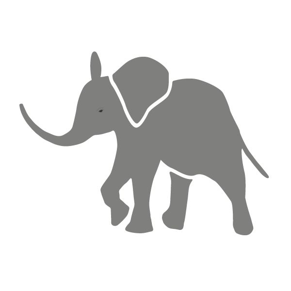 Such an adorable baby elephant wall stencil for jungle theme wall mural.