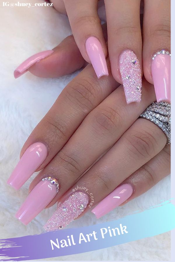 Scorching Pink Nails with Glitter