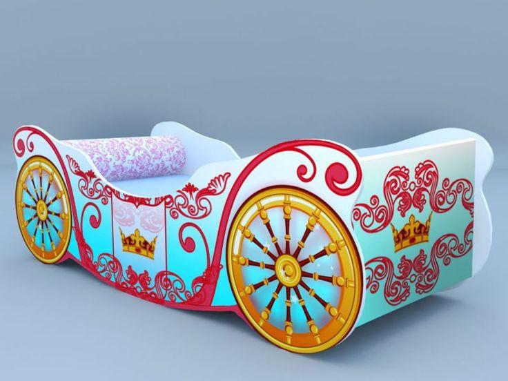 Детская кровать-карета корона голубая