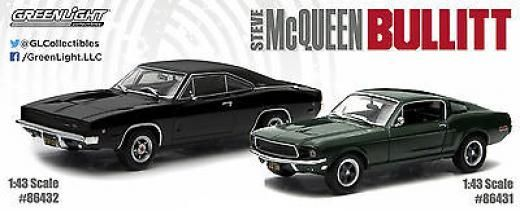 Greenlight 1968 Dodge Charger R/t & Ford Mustang Steve Mcqueen Bullitt Set 1/43 1:43 Dodge/ford Diecast Metal Charger/mustang 86431 86432 Cars 2015