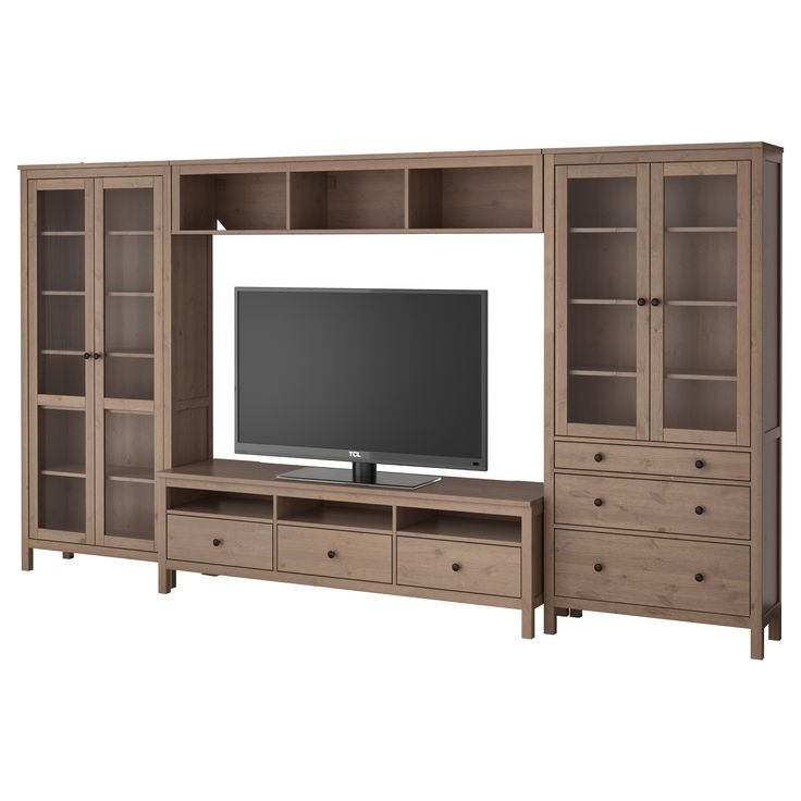 hemnes tv storage combination glass doors gray brown ikea i like all of this but the tv. Black Bedroom Furniture Sets. Home Design Ideas
