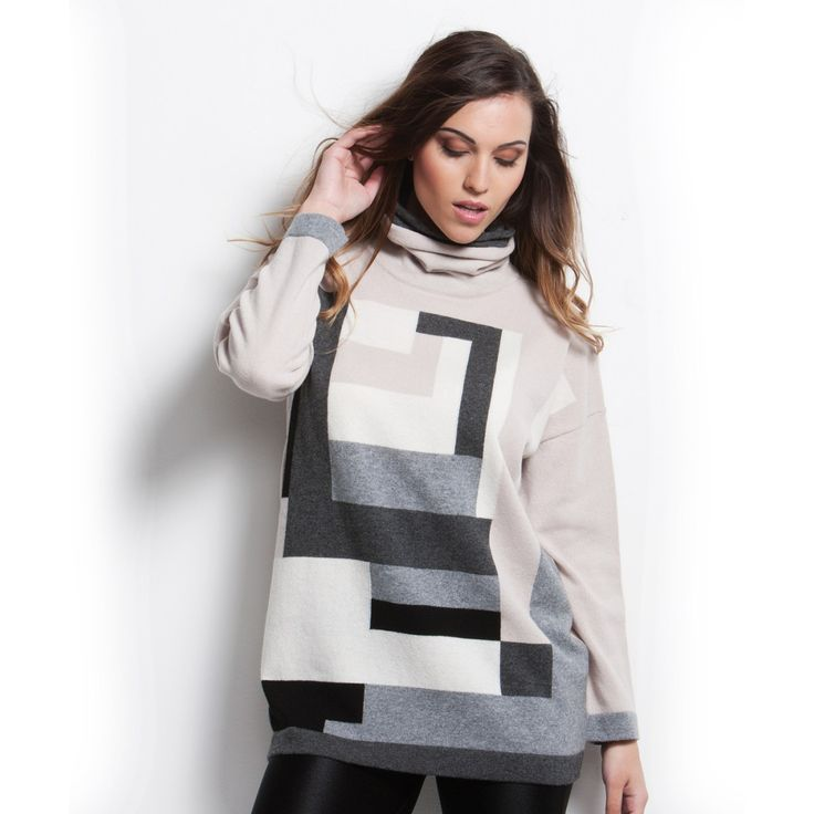 Lupetto intarsio geometrico 100% Cashmere Diversi colori disponibili