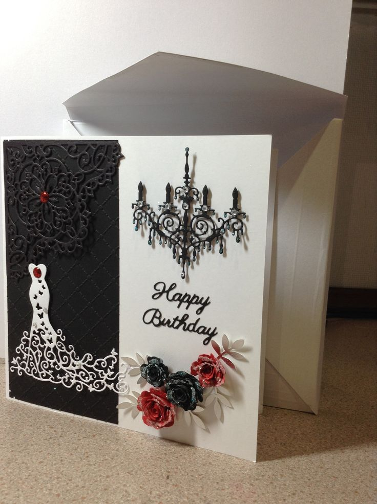 #tattered lace # spellbinders # red carpet dress #chandelier # handmade roses # birthday