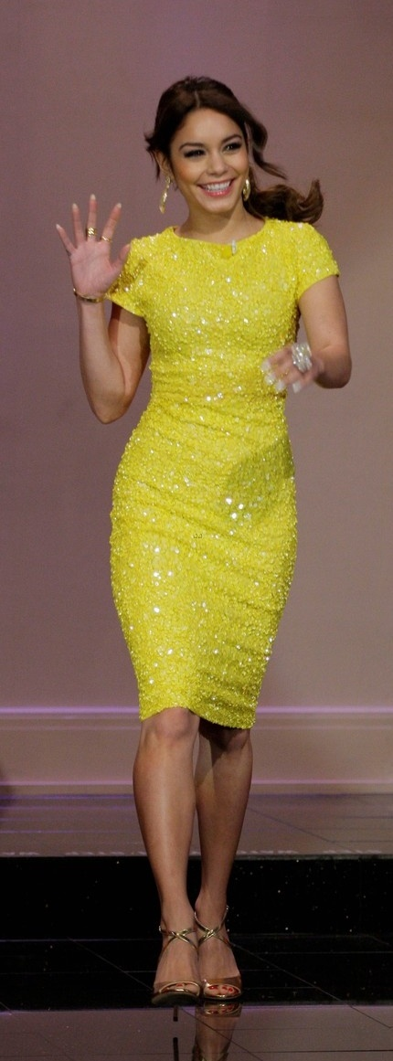 Vanessa Hudgens in a yellow sequin dress that I want so very badly and I will love anyone forever who can tell me where to get it. I want it for semi next year.