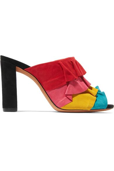 Heel measures approximately 90mm/ 3.5 inches Multicolored suede Slip on Made in ItalySmall to size. See Size & Fit notes