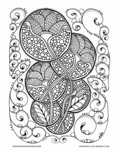 coloring page for adults lovely art nouveau design with flowers and many details to color - Creative Coloring Sheets