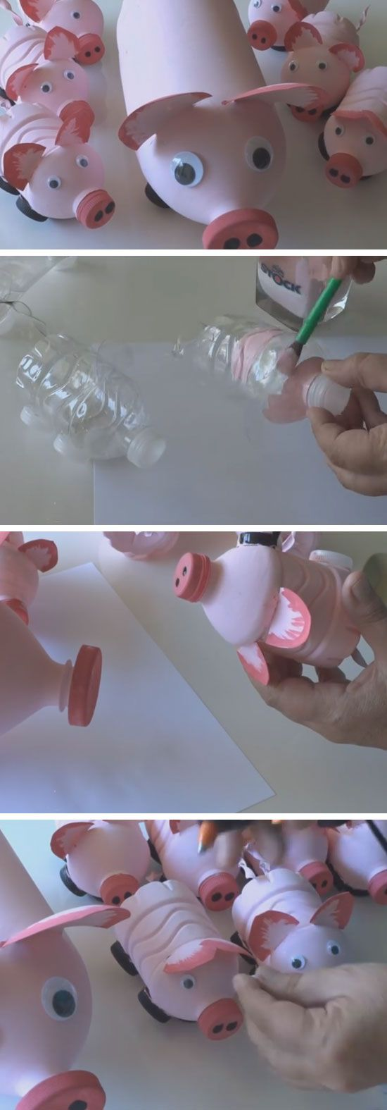 Pig's Family from Plastic Bottles | 18 DIY Summer Art Projects for Kids to Make | Easy Art Projects for Toddlers