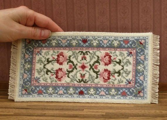 Miniature #6017 Square Plaid Dollhouse Quilt or Rug Great for OOAK Doll