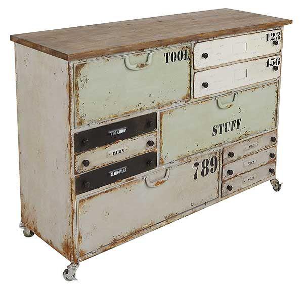 Muebles Portobellostreet.es:  Mueble de hierro con cajones multicolores - Cómodas Vintage - Muebles de Estilo Vintage