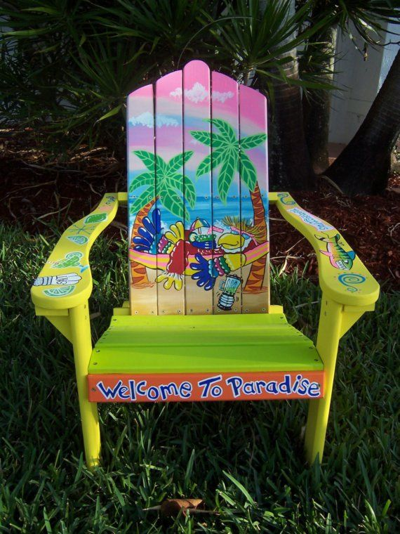 Tropical Adirondack Chair Handcrafted Hand by DreamCreationsArt, $375.00