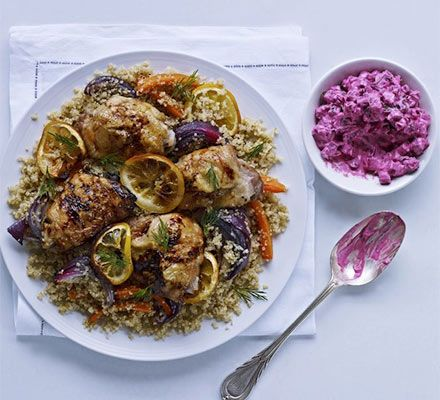 Beetroot adds a vibrant purple hue to this roast chicken dish with supergrains, vegetables and lemon