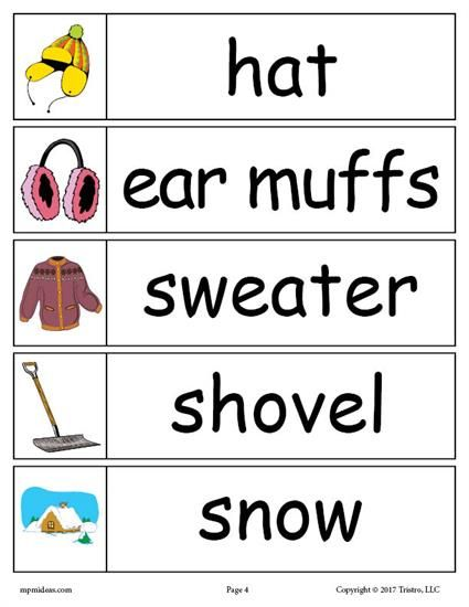FREE Winter Word Wall Words: hat, ear muffs, sweater, shovel, snow. Get all 30 winter words for your winter word walls for free here --> https://www.mpmschoolsupplies.com/ideas/7887/30-free-winter-word-wall-words/