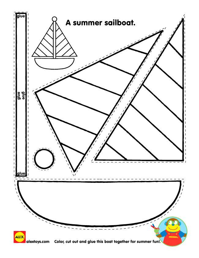 Sailboat Coloring Pictures Printable Beach themed Activity