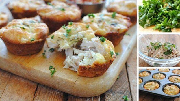 Slané muffiny s kuracím mäsom a syrom