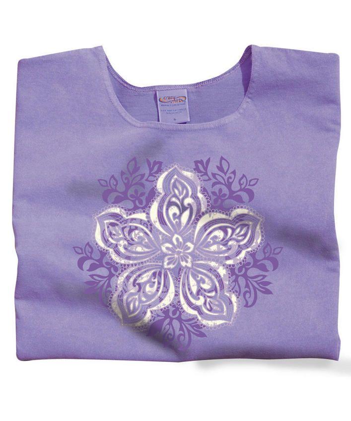 Batik Quilt Blend - Lavender-Dyed Scoop-Neck T-Shirt