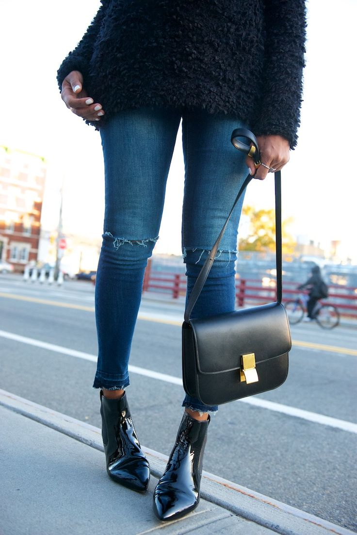 patent pointed toe boots, cropped ripped jeans, Celine box bag \u0026amp; a ...