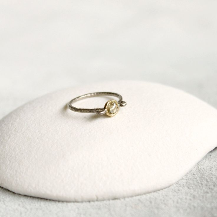 White Rough Diamond Ring, 18ct White and Yellow Gold,by TamaraGomez on Etsy