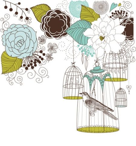 Иллюстрация: птица в клетке и цветы