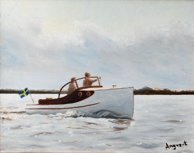 Angvert Pettersson boat. Oil on canvas. Ca 500 mm.