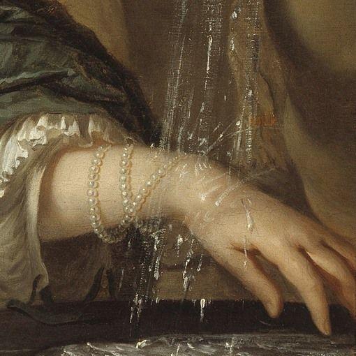 Dettagli 3. Jean de Baen: Ritratto di giovane donna alla fontana. Olio su tela del 1660-70. Museo Mayer van den Bergh, Anversa. Il bracciale formato dal lungo filo di perle, portato lento come va di moda in quegli anni, viene bagnato dall'acqua della fonte, che scende come argento liquido.