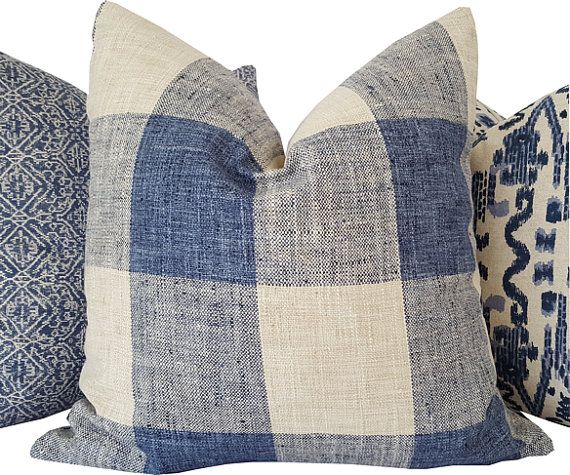 Navy Pillow  Plaid Pillow  Navy Decorative by CaliforniaLivinHome