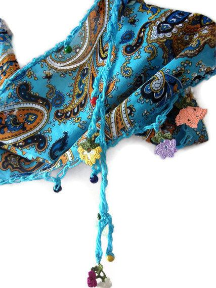 Blue Cotton Turkish Scarf With Traditional Lace. $28.00, via Etsy.